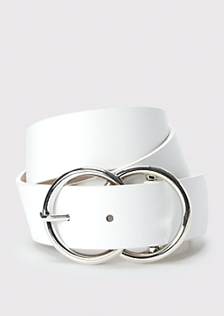 White Double Ring Buckle Belt