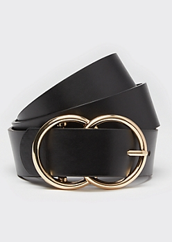 Black Double Ring Gold Buckle Belt