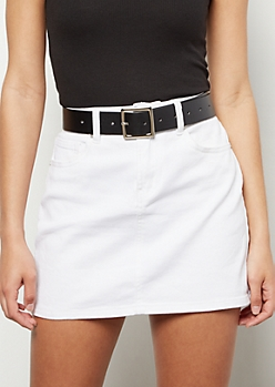 Black Faux Leather Square Buckle Belt