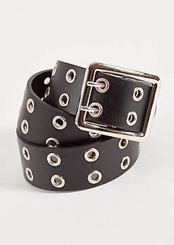 Black Double Grommet Faux Leather Belt