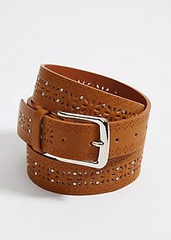 Cognac Cutout & Stud Belt