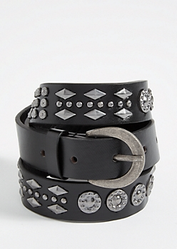 Black Skinny Western Studded Belt