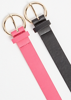 2-Pack Hot Pink Circle Buckle Belt Set