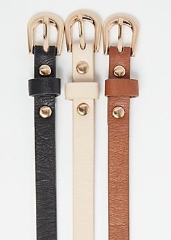 3-Pack Brown Skinny Belt Set