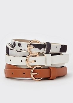 3-Pack Cow Print Skinny Belt Set