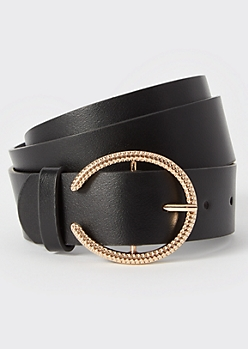 Black Rose Gold U Buckle Belt
