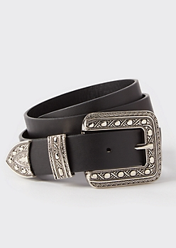 Black Faux Leather Western Belt