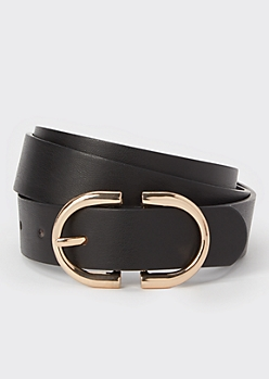 Black Oval Buckle Belt