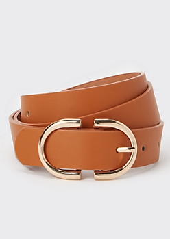 Cognac Oval Buckle Belt