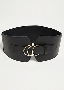 Black Triple Hoop Thick Belt