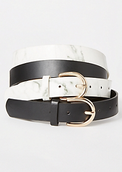 2-Pack Marble Print Belt Set