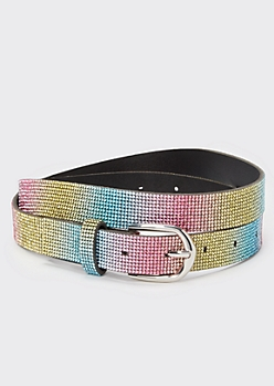Rainbow Rhinestone Skinny Belt