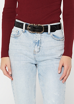 Black Texture Double Buckle Belt
