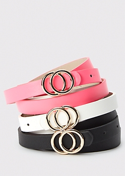 3-Pack Pink Double Ring Belts