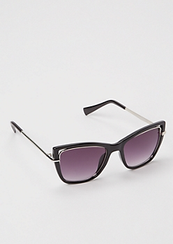 Black Square Frame Wire Rim Sunglasses
