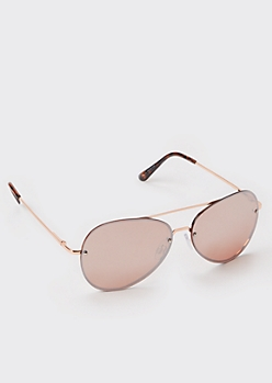Gold Metallic Flat Top Aviator Sunglasses