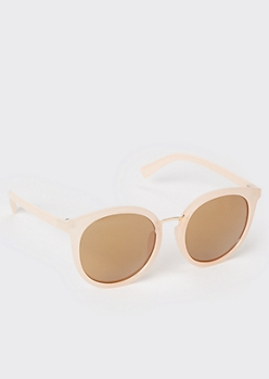 Matte Pink Round Lens Sunglasses