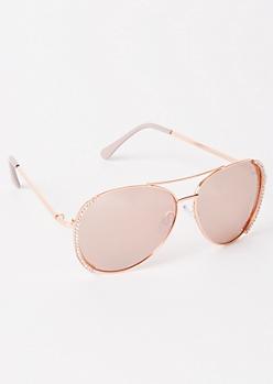 Rose Gold Gemstone Aviator Sunglasses