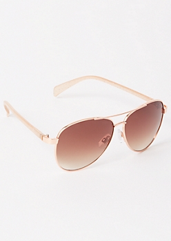 Rose Gold Glittery Aviator Sunglasses