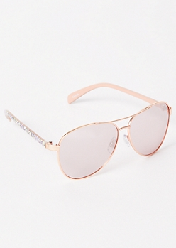 Rose Gold Floral Print Aviator Sunglasses