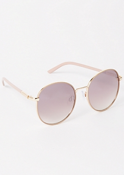 Taupe Rose Gold Round Sunglasses