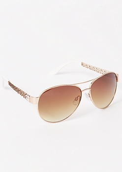 Rose Gold Floral Cutout Aviator Sunglasses