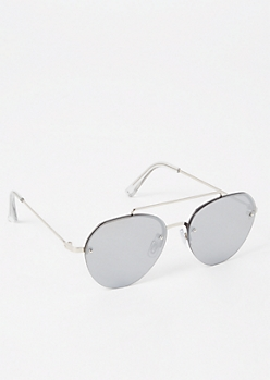 Silver Smokey Aviator Sunglasses