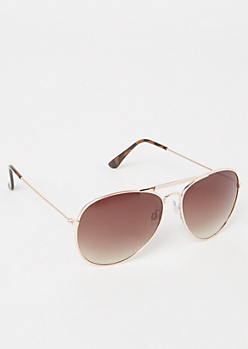 Brown Smoky Aviator Sunglasses