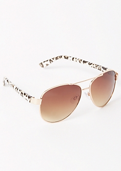 Gold Leopard Print Aviator Sunglasses
