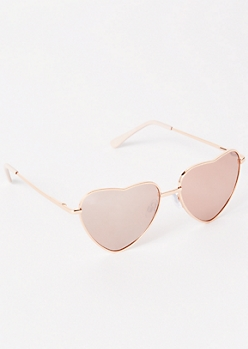 Rose Gold Heart Eye Sunglasses
