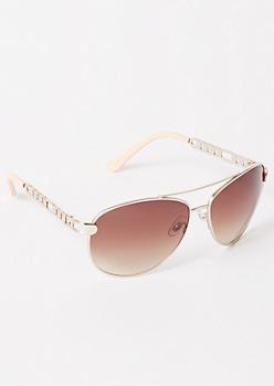 Silver Chain Aviator Sunglasses
