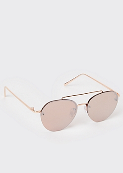 Rose Gold Metal Brow Bar Aviator Sunglasses