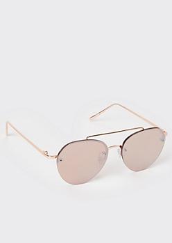 Rose Gold Metal Brow Bar Aviator Sunglasses