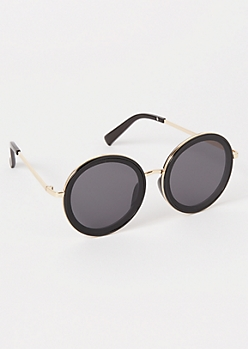Black Oversized Circle Lens Sunglasses