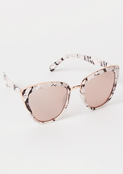 White Marbled Cat Eye Sunglasses