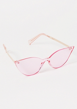 Pink Clear Cat Eye Sunglasses