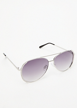 Black Rhinestone Mirrored Aviator Sunglasses