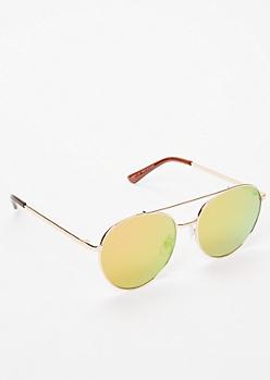 Hot Pink Aviator Mirrored Sunglasses