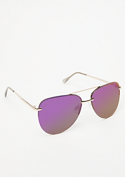 Purple Mirrored Aviator Sunglasses