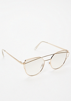 Gold Clear Brow Bar Cat Eye Sunglasses
