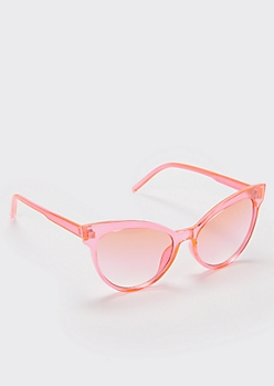 Pink Transparent Cat Eye Sunglasses