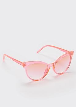Pink Transparent Cat Eye Sunglasses