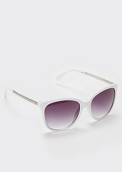 White Rhinestone Cat Eye Sunglasses
