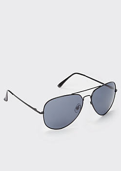 Black Wire Aviator Sunglasses