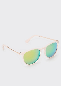 Pink Mirrored Blue Square Sunglasses