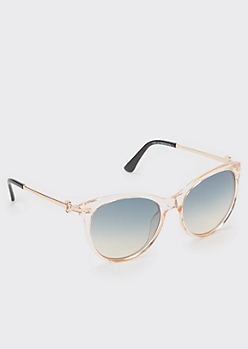 Clear Pink Square Sunglasses