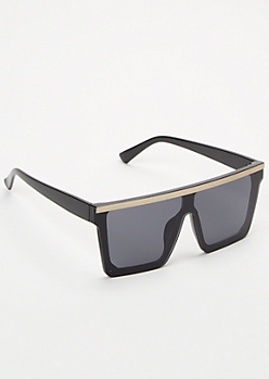 Black Metallic Shield Sunglasses