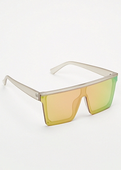 Rainbow Reflective Shield Sunglasses