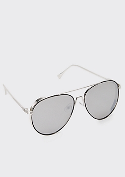 Silver Retro Aviator Sunglasses