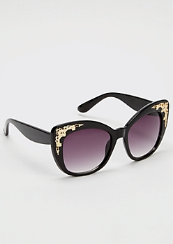 Black Ornate Detailed Cat Eye Sunglasses